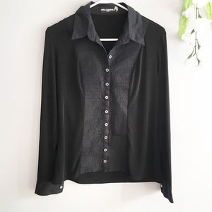 Karl Lagerfeld Button Blouse Pleated Front Cuff